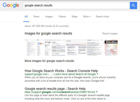 google black links in search results