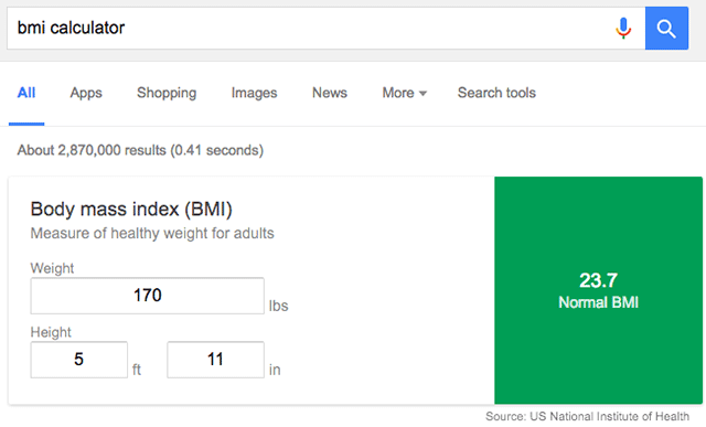 Google BMI Calculator