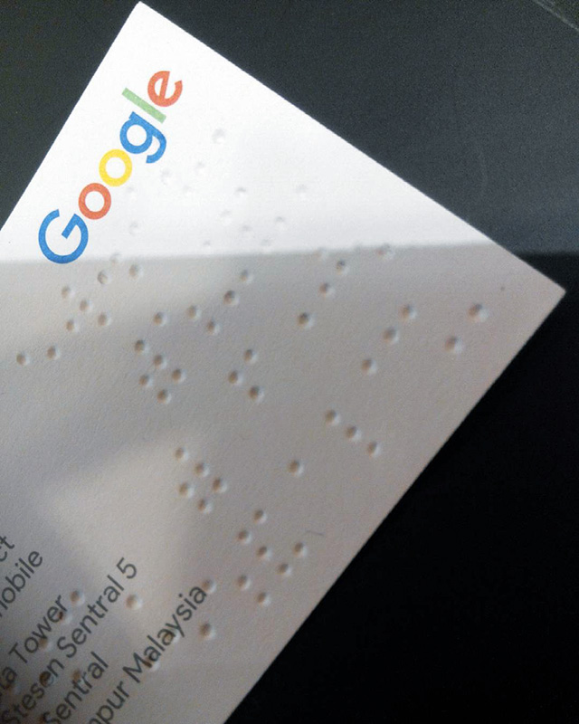 Google Braille Business Card