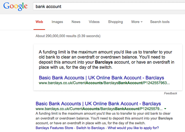 Barclays Bank Account Query on Google