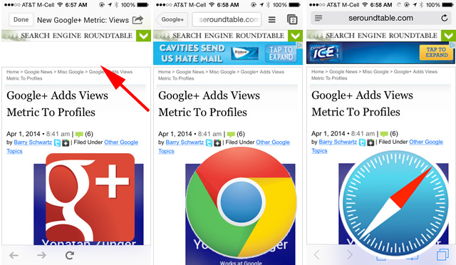 iOS Google+ Browser Blocks AdSense Ads