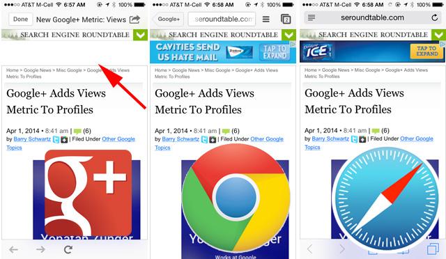 iOS Google+ Browser Blocks AdSense Ads