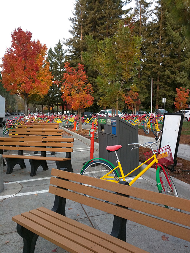 Google's Bus Stop Filled With Bikes & Benches