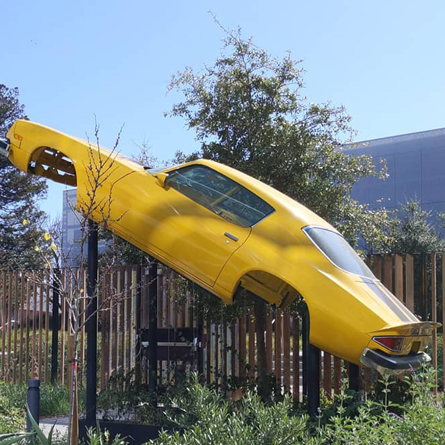 Car Body Frame Suspended In Air At GooglePlex