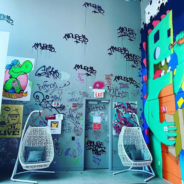 Google Chicago Graffiti Walls & Swing Chairs