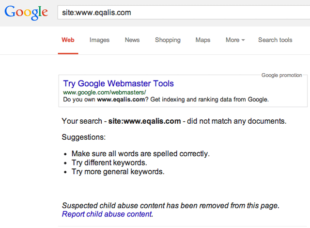 Google: Suspected Child Abuse Content Notification