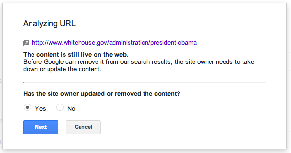 Google's URL/Content Removal Tool Wizard
