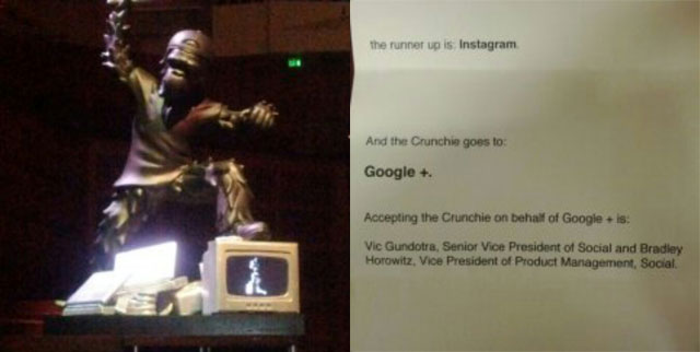 Google+ Wins Crunchie Awards