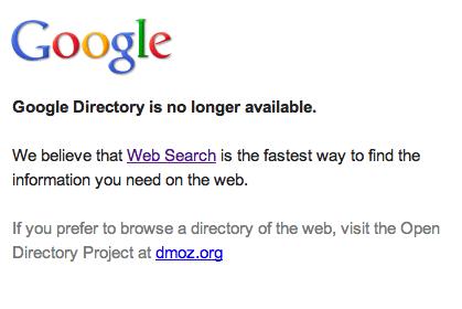 Google Directory notice