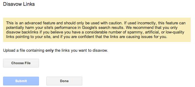 Google Disavow Link Tool