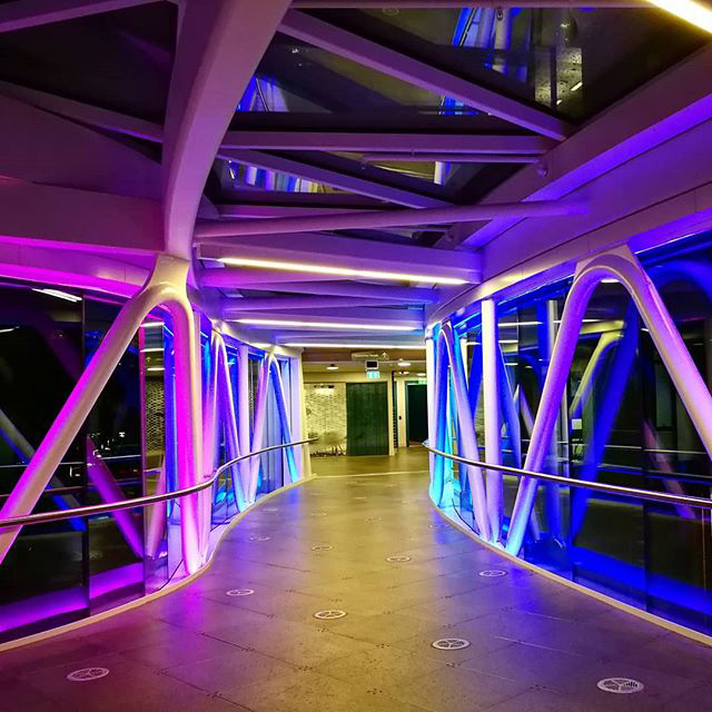 Inside The Google Dublin Sky Bridge At Night