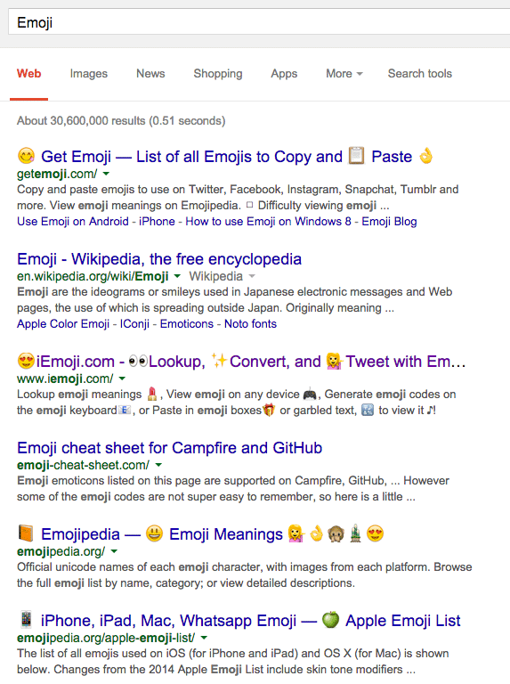 🍻 Emoji Characters Now Showing On Google Desktop Search