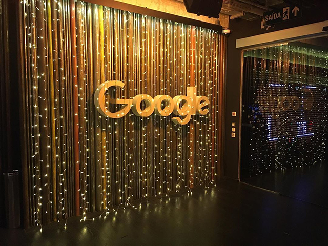 Google Fairy Light Wall