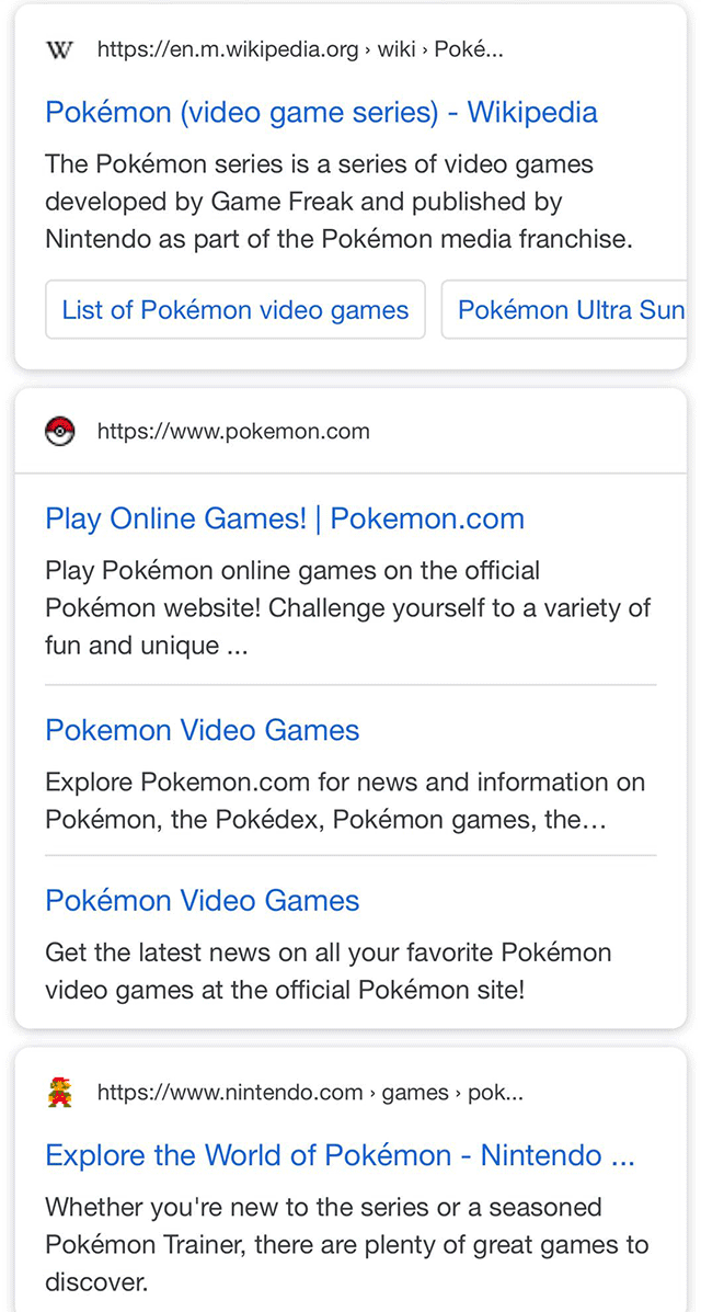 Google Favicons In Search Results Snippets