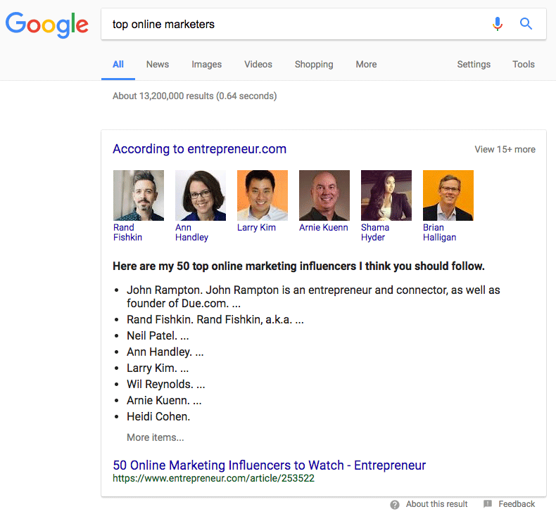 0437b5e0047d Some Google Featured Snippets Showing