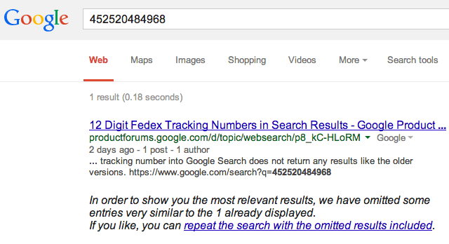google fedex 12 digits