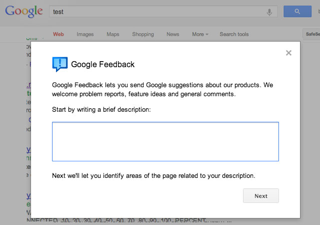 Google Web Search Feedback Form Updated