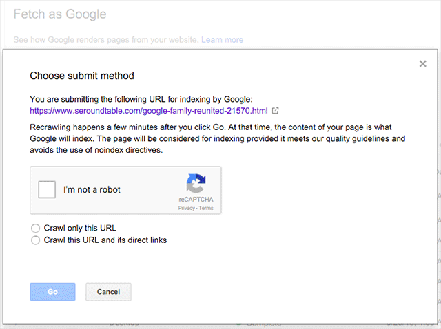 Google Fetch As Google Submit To Index Now Requires Captcha