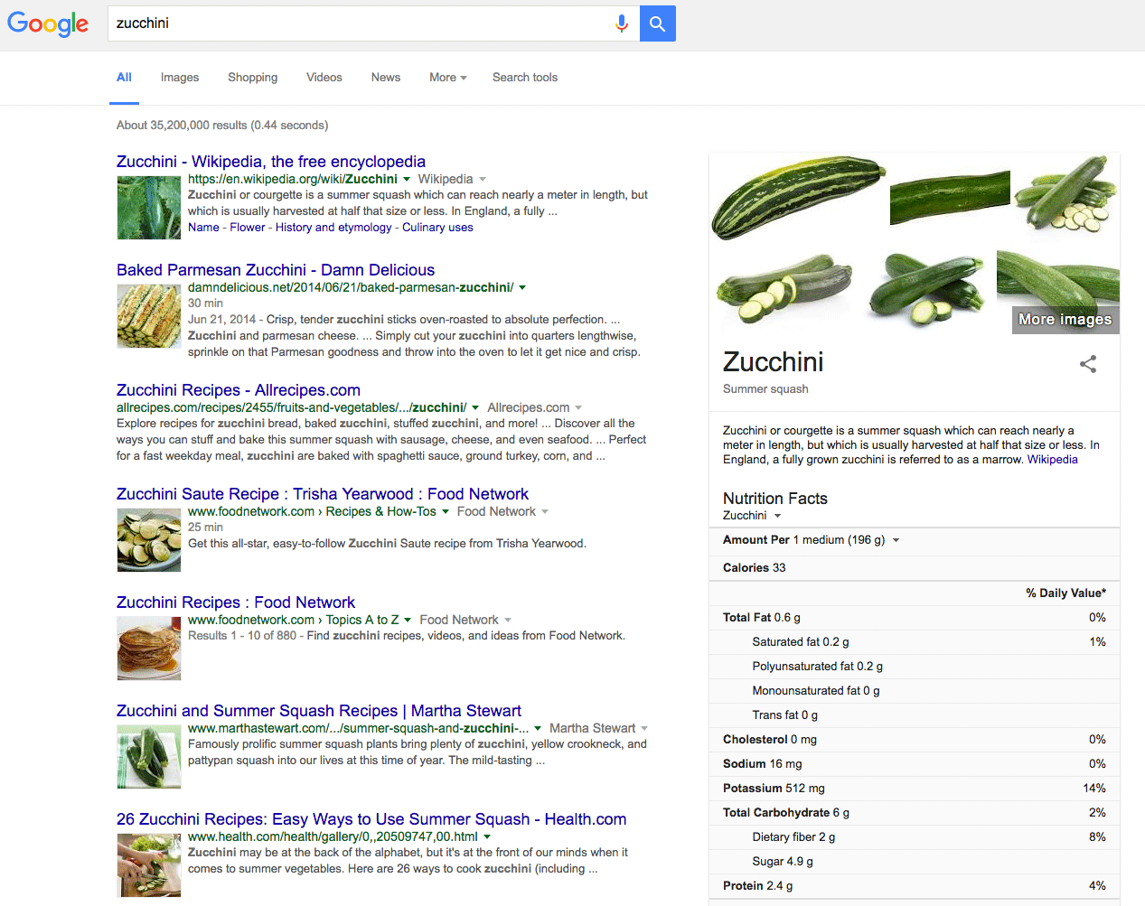 Now live image thumbnail in google food search results for Google cuisine