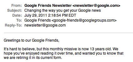 Last Google Friends Newsletter