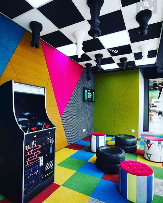Google Game Room With Upside Down Chess Ceiling