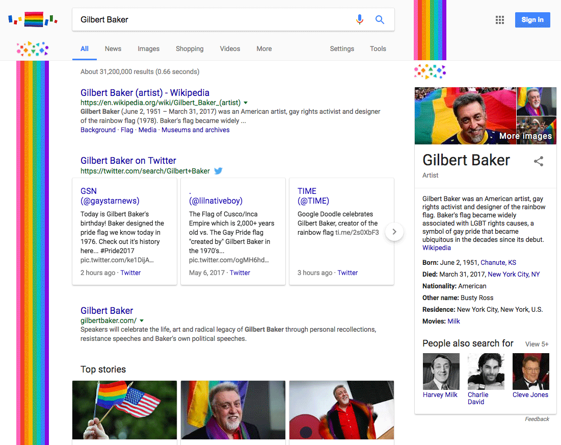 Google honors LGBT rainbow flag creator Gilbert Baker with new Doodle