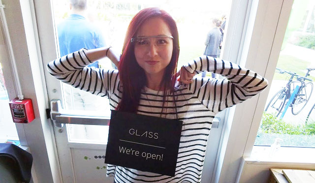 Google Glass - We're Open Sign On Amanda Rosenberg