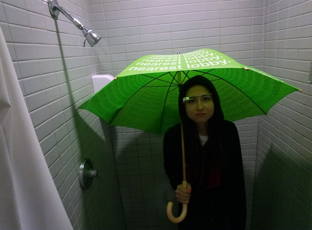 Google Glass in Shower With Umbrella