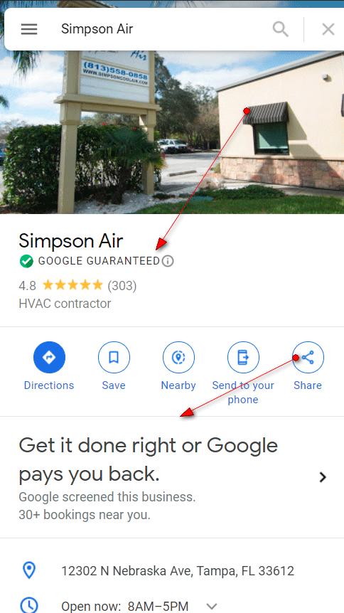 Google guaranteed badge for local business
