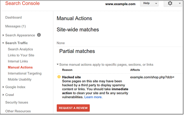 google hacked site manual action