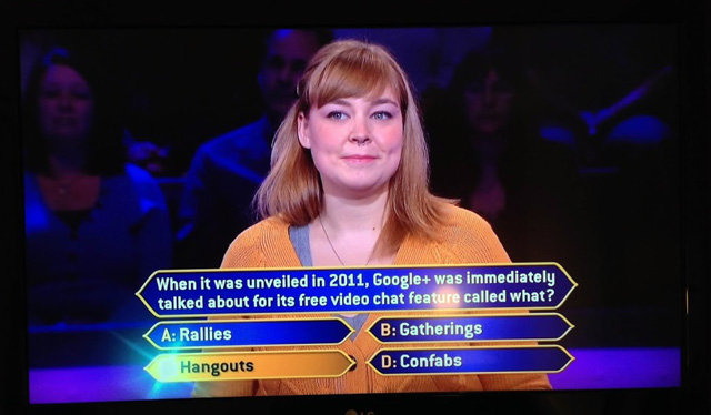 Google+ On Who Wants to Be a Millionaire