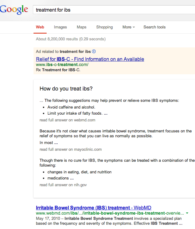 Google Health Related Search Results