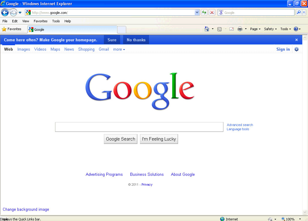 Come Here Often? Make Google Your Homepage Blue Bar - photo#34