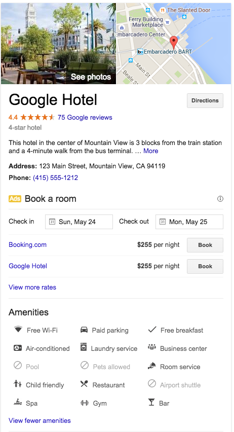 Google Adds Hotel Amenities To Knowledge Graph
