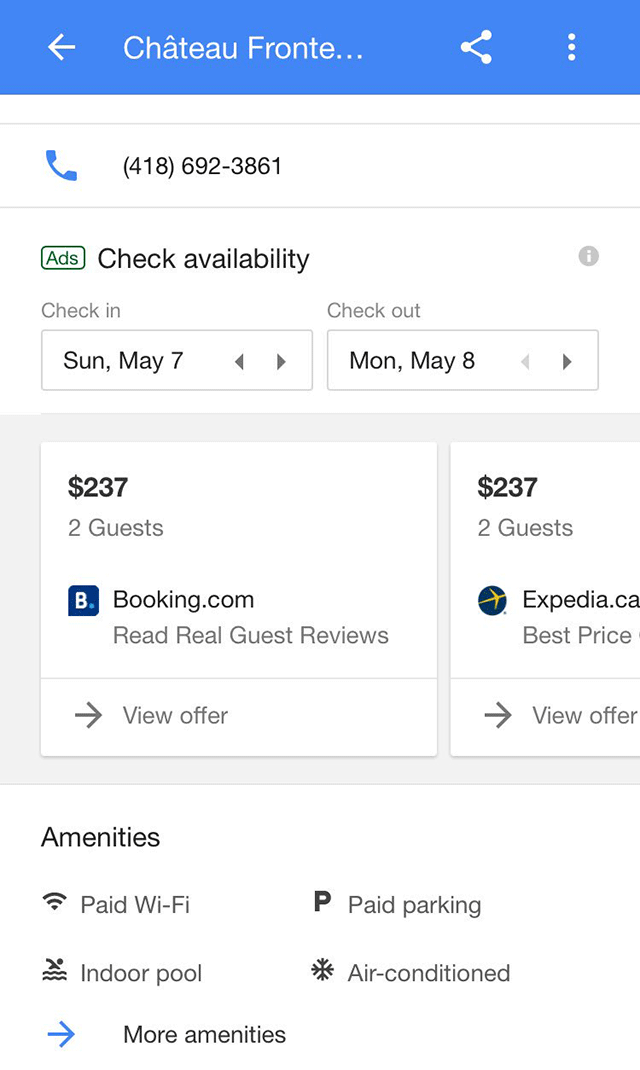 Google Hotel Booking Interface Testing Carousel Layout