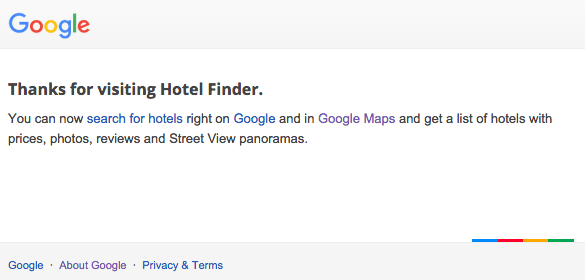 Google Hotel Finder Home Page Shuts Down