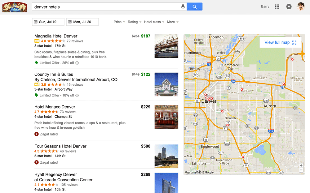 Google testing new hotel finder interface for Google hotes