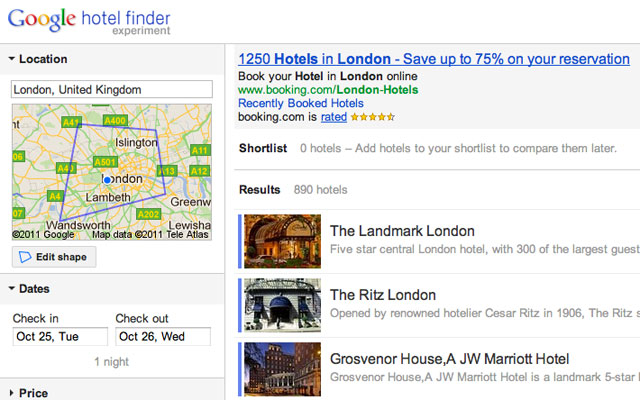 london hotels in Google