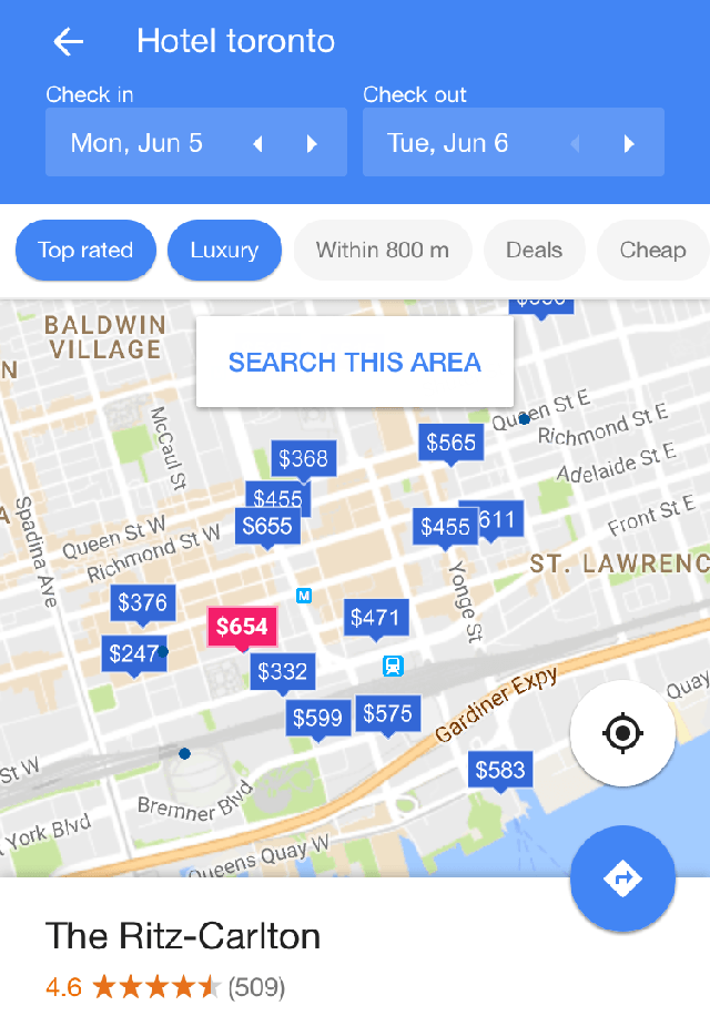 Google Testing Clickable Hotel Prices In Map View