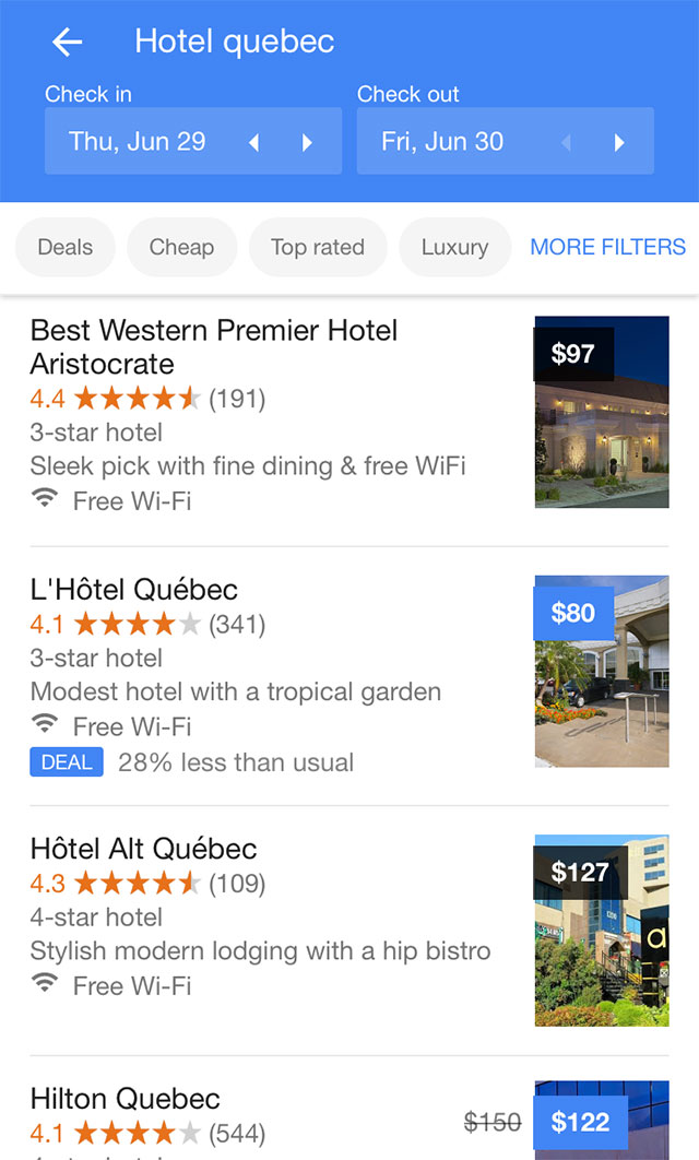 Google tests large swipeable images for hotel listings for Google hotes