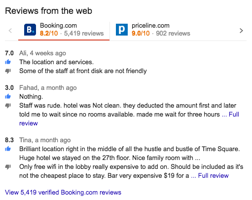 hotel reviews on Google by third party platforms