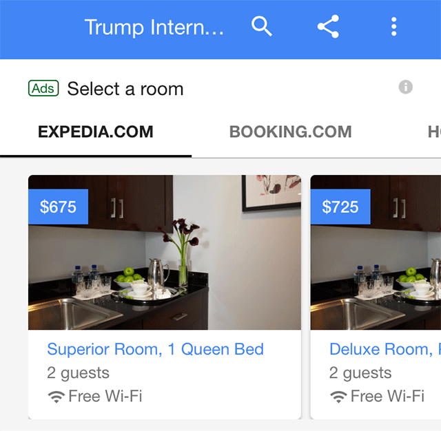 Google Hotel Search Results With Select Room Carousel