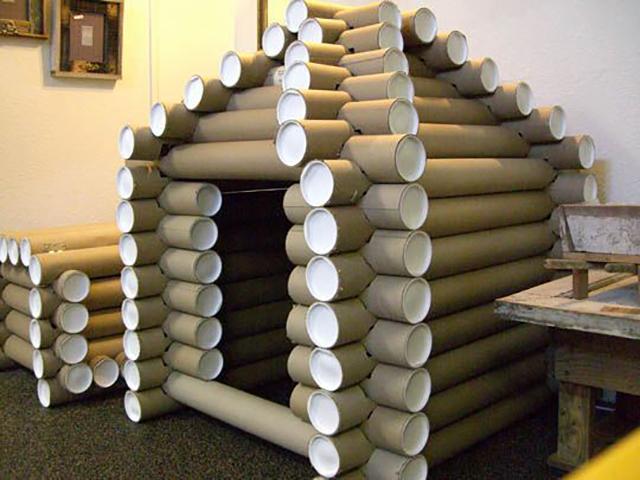 Hut Made Of Packing Tubes At Google