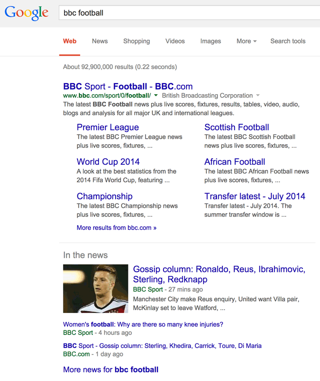 Google New In The News BBC Football