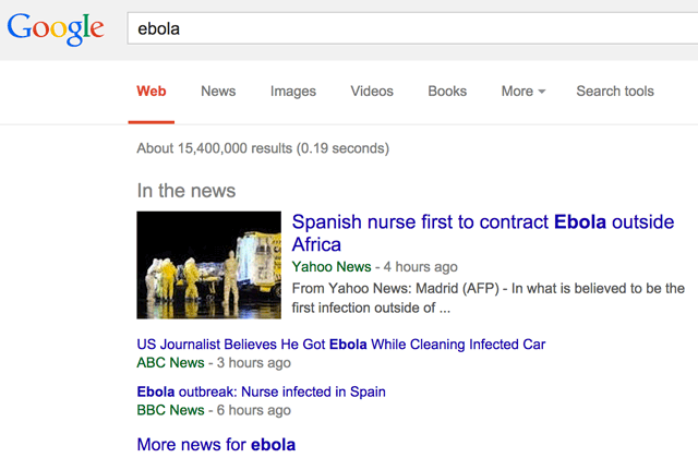 Google New In The News Ebola