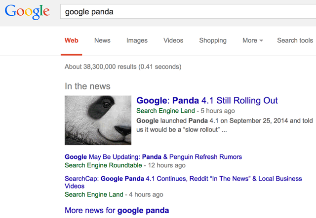 Google New In The News Google Panda