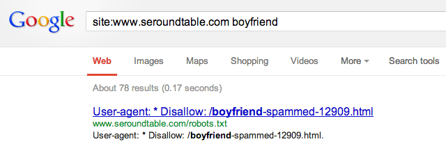 robots.txt in google results