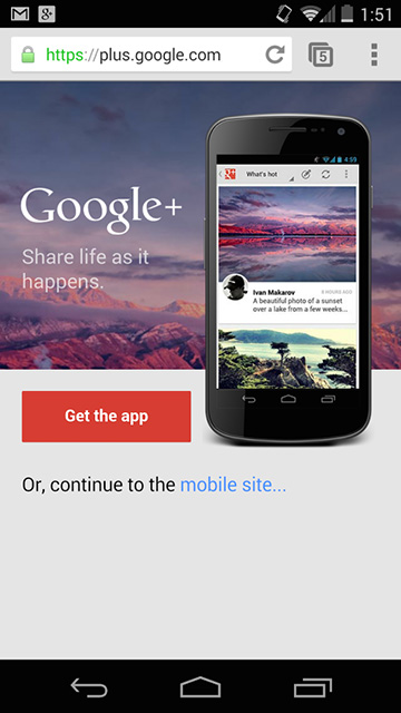 Google+ App Interstitials