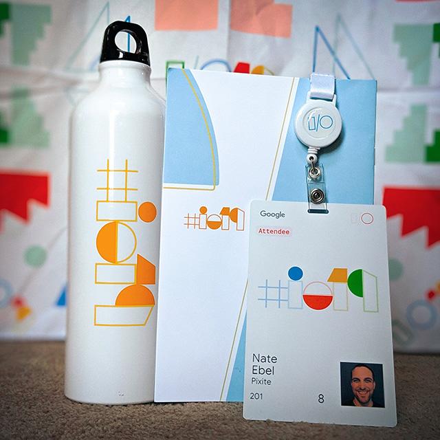 Google I/O Registration Badge, Water Bottle & Stuff