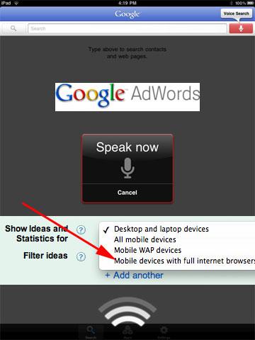 Tablet Google Keyword Tool